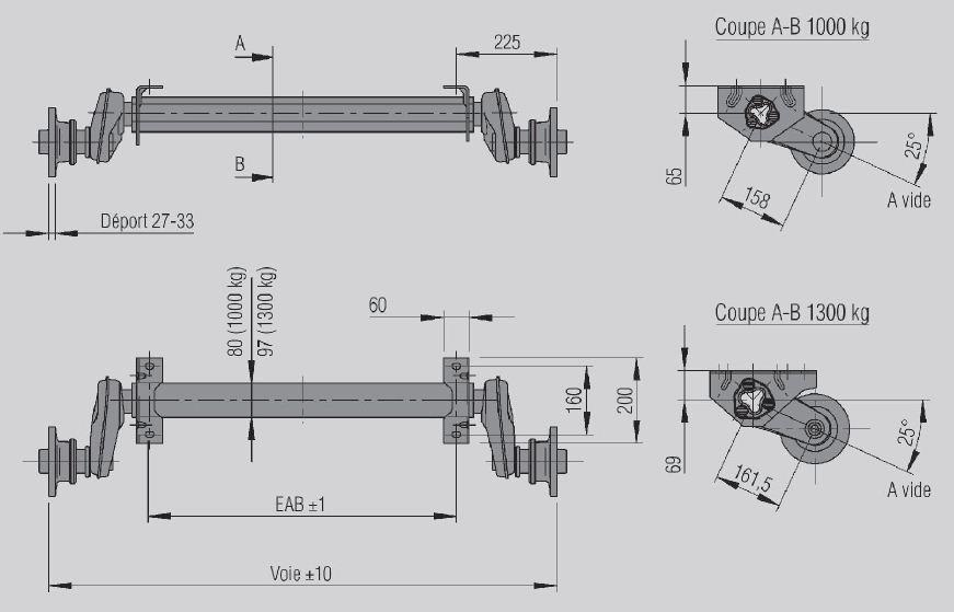 essieu standard 1300kg non frein aux remorques de l 39 aisne. Black Bedroom Furniture Sets. Home Design Ideas