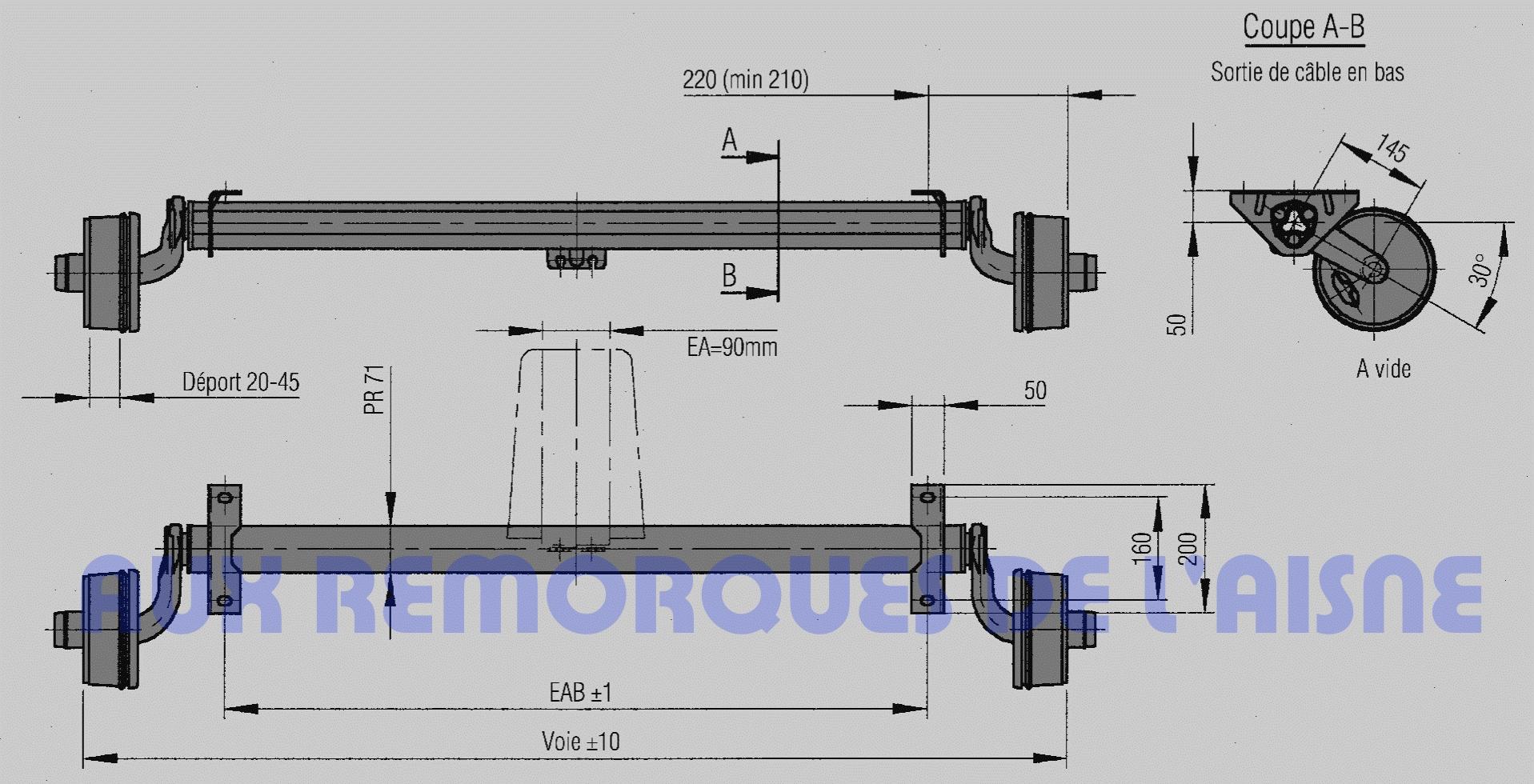 essieu compact 750kg frein aux remorques de l 39 aisne. Black Bedroom Furniture Sets. Home Design Ideas
